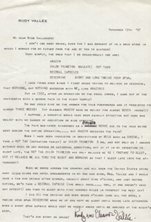 RUDY VALLEE - TYPED LETTER SIGNED 11/19/1967