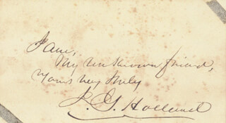 JOSIAH GILBERT HOLLAND - AUTOGRAPH NOTE SIGNED