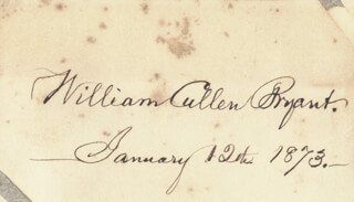 Autographs: WILLIAM CULLEN BRYANT - SIGNATURE(S) 01/12/1873