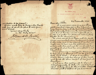 MAUD BALLINGTON BOOTH - MANUSCRIPT LETTER SIGNED 11/24/1894