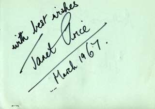 JANET PRICE - AUTOGRAPH SENTIMENT SIGNED 3/1967 CO-SIGNED BY: FELIX KOK