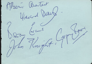 THE HAFFNER QUARTET - AUTOGRAPH NOTE SIGNED CO-SIGNED BY: THE ALBERNI QUARTET , ALBERNI QUARTET (GREGORY BARON), ALBERNI QUARTET (JOHN KNIGHT), ALBERNI QUARTET (HOWARD DAVIS), HAFFNER QUARTET (TREVOR WILLIAMS), HAFFNER QUARTET (NEIL WATSON), HAFFNER QUARTET (GEORGE TURNLUND), HAFFNER QUARTET (ERNEST GREAVES)