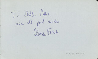 Autographs: CLAUDE FRANK - AUTOGRAPH NOTE SIGNED CO-SIGNED BY: REGINALD SMITH BRINDLE