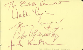 THE LASALLE QUARTET - AUTOGRAPH CO-SIGNED BY: EGON WELLESZ, THE LASALLE QUARTET (WALTER LEVIN), THE LASALLE QUARTET (HENRY MEYER), THE LASALLE QUARTET (PETER KAMNITZER), THE LASALLE QUARTET (JACK KIRSTEIN)