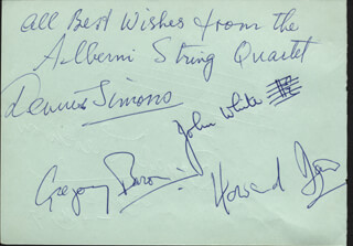 Autographs: THE ALBERNI QUARTET - SIGNATURE(S) 05/04/1967 CO-SIGNED BY: RONALD STEVENSON, ALBERNI QUARTET (DENNIS SIMMONS), ALBERNI QUARTET (GREGORY BARON), ALBERNI QUARTET (JOHN WHITE), ALBERNI QUARTET (HOWARD DAVIS)