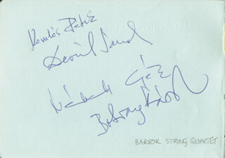 THE BARTOK STRING QUARTET - AUTOGRAPH CO-SIGNED BY: THE BARTOK STRING QUARTET (PETER KOMLOS), THE BARTOK STRING QUARTET (SANDOR DEVICH), THE BARTOK STRING QUARTET (GEZA NEMETH), THE BARTOK STRING QUARTET (KAROLY BOTVAY)