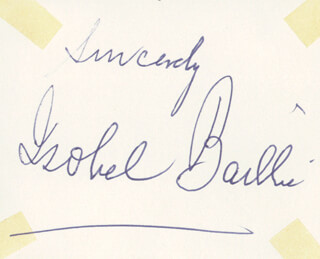 Autographs: ISOBEL BAILLIE - AUTOGRAPH SENTIMENT SIGNED