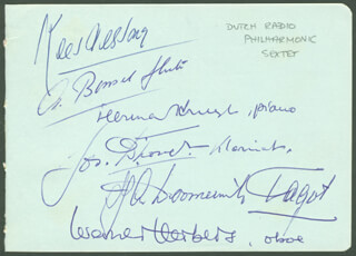 DUTCH RADIO PHILHARMONIC SEXTET - AUTOGRAPH CO-SIGNED BY: SHURA CHERKASSKY, DUTCH RADIO PHILHARMONIC SEXTET (KEES VERSNEY), DUTCH RADIO PHILHARMONIC SEXTET (HEMMAM KRUYT), DUTCH RADIO PHILHARMONIC SEXTET (JOS D'HONDT), DUTCH RADIO PHILHARMONIC SEXTET (ADMIAAN BONEEIL), DUTCH RADIO PHILHARMONIC SEXTET (ANTON DOOMERNIK)