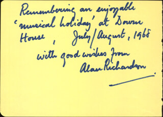 ALAN RICHARDSON - AUTOGRAPH NOTE SIGNED CO-SIGNED BY: ANATOLE MINES