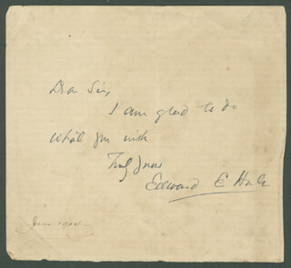 Autographs: EDWARD EVERETT HALE - AUTOGRAPH NOTE SIGNED 6/1904