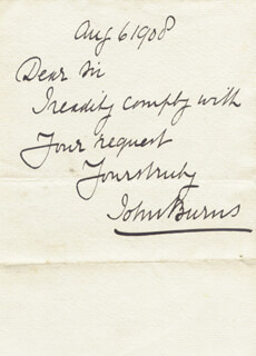 Autographs: JOHN BURNS - AUTOGRAPH NOTE SIGNED 08/06/1908
