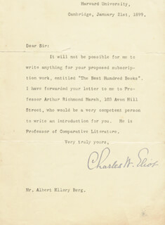 CHARLES W. ELIOT - TYPED LETTER SIGNED 01/21/1899