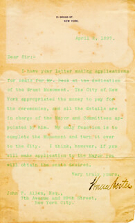 BRIGADIER GENERAL HORACE PORTER - TYPED LETTER SIGNED 04/02/1897