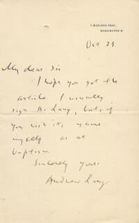 ANDREW LANG - AUTOGRAPH LETTER SIGNED 10/23