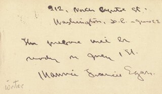 MAURICE FRANCIS EGAN - AUTOGRAPH NOTE SIGNED 6/27/1899