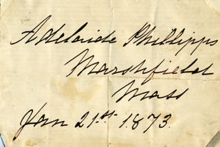 ADELAIDE PHILLIPPS - AUTOGRAPH 01/21/1873