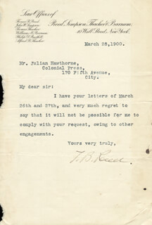 THOMAS B. REED - TYPED LETTER SIGNED 03/28/1900