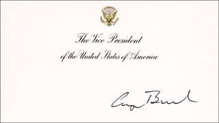 Autographs: PRESIDENT GEORGE H.W. BUSH - VICE PRESIDENTIAL CARD SIGNED