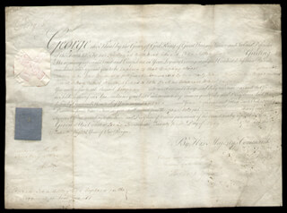 Autographs: KING GEORGE III (GREAT BRITAIN) - MILITARY APPOINTMENT SIGNED 05/21/1788 CO-SIGNED BY: VISCOUNT (THOMAS TOWNSHEND) SYDNEY
