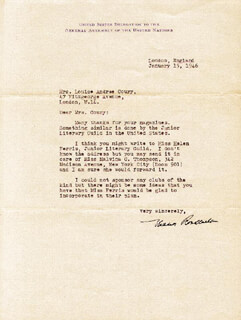 Autographs: FIRST LADY ELEANOR ROOSEVELT - TYPED LETTER SIGNED 01/15/1946