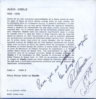 ALICIA ALONSO - RECORD ALBUM SLEEVE SIGNED 1978