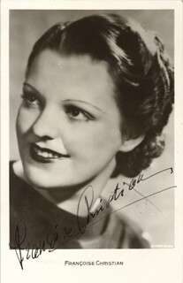 FRANCOISE CHRISTIAN - PRINTED PHOTOGRAPH SIGNED IN INK CIRCA 1938
