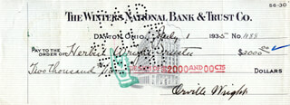 ORVILLE WRIGHT - AUTOGRAPHED SIGNED CHECK 07/01/1935 CO-SIGNED BY: HERBERT WRIGHT, LULU WRIGHT