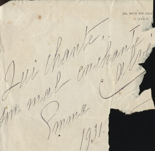 EMMA CALVÉ - AUTOGRAPH QUOTATION SIGNED 1931