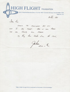 COLONEL JAMES B. JIM IRWIN - AUTOGRAPH LETTER SIGNED 01/24/1985
