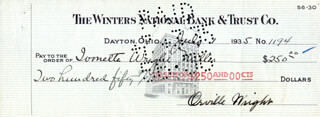 Autographs: ORVILLE WRIGHT - CHECK SIGNED 07/01/1935 CO-SIGNED BY: IVONETTE WRIGHT-MILLER