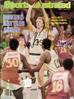 Autographs: LARRY BIRD - MAGAZINE COVER SIGNED CO-SIGNED BY: DANNY AINGE