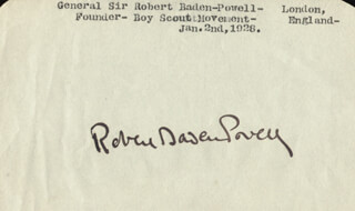 Autographs: ROBERT BADEN-POWELL - SIGNATURE(S) CIRCA 1928