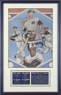 Autographs: MICKEY MANTLE - PRINTED ART SIGNED IN INK CO-SIGNED BY: TED WILLIAMS, FRANK ROBINSON, CARL YAZ YASTRZEMSKI