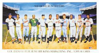 500 HOME RUN HITTERS - PRINTED ART SIGNED IN INK CO-SIGNED BY: HARMON KILLEBREW, WILLIE STRETCH McCOVEY, REGGIE MR. OCTOBER JACKSON, FRANK ROBINSON, HANK AARON, MICKEY MANTLE, EDDIE MATHEWS, WILLIE SAY HEY KID MAYS