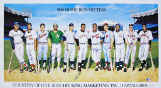 500 HOME RUN HITTERS - PRINTED ART SIGNED IN INK CO-SIGNED BY: HARMON KILLEBREW, WILLIE STRETCH McCOVEY, REGGIE MR. OCTOBER JACKSON, FRANK ROBINSON, HANK AARON, MICKEY MANTLE, EDDIE MATHEWS, WILLIE SAY HEY KID MAYS - HFSID 113469