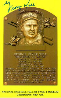 GEORGE KELL - BASEBALL HALL OF FAME PLAQUE POSTCARD SIGNED
