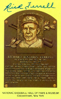 RICK FERRELL - BASEBALL HALL OF FAME PLAQUE POSTCARD SIGNED