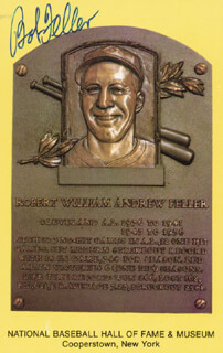 BOB FELLER - BASEBALL HALL OF FAME PLAQUE POSTCARD SIGNED
