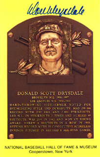 DON DRYSDALE - BASEBALL HALL OF FAME PLAQUE POSTCARD SIGNED