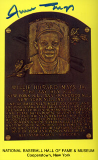 WILLIE SAY HEY KID MAYS - BASEBALL HALL OF FAME PLAQUE POSTCARD SIGNED