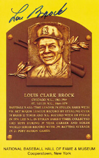 LOU BROCK - BASEBALL HALL OF FAME PLAQUE POSTCARD SIGNED