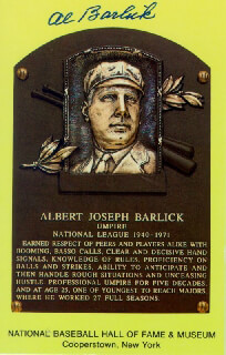 AL BARLICK - BASEBALL HALL OF FAME PLAQUE POSTCARD SIGNED