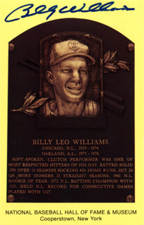 BILLY WILLIAMS - BASEBALL HALL OF FAME PLAQUE POSTCARD SIGNED