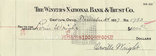 ORVILLE WRIGHT - AUTOGRAPHED SIGNED CHECK 12/24/1937 CO-SIGNED BY: LORIN WRIGHT