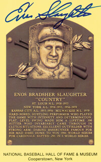ENOS SLAUGHTER - BASEBALL HALL OF FAME PLAQUE POSTCARD SIGNED