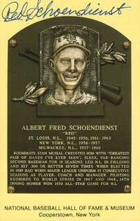 RED SCHOENDIENST - BASEBALL HALL OF FAME PLAQUE POSTCARD SIGNED