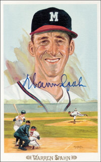 WARREN SPAHN - PEREZ-STEELE POSTCARD SIGNED