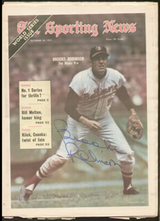 BROOKS ROBINSON - MAGAZINE COVER SIGNED