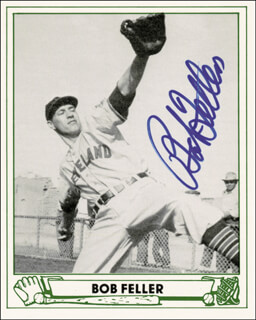 BOB FELLER - TRADING/SPORTS CARD SIGNED