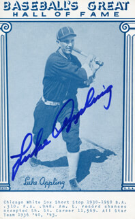 LUKE APPLING - BASEBALL HALL OF FAME CARD SIGNED